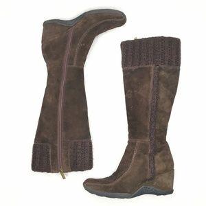 Aquatalia Wedge Boots Suede Knit Shearling Trim